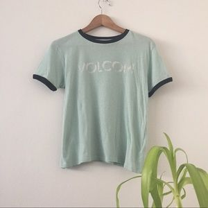 Volcom Logo Ringer Tee in Mint Green